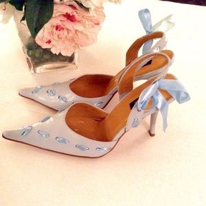 N.Y.L.A. Susie Light Blue Ribbon Heels
